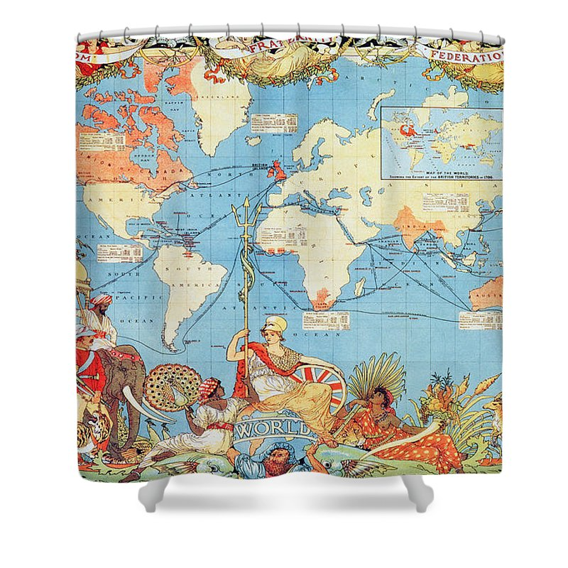 Antique Illustrated Map Of The World Shower Curtain For Sale By
