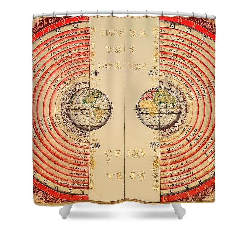 Map Shower Curtain Featuring The Drawing Antique Illustrative Of Ptolemaic Geocentric Model