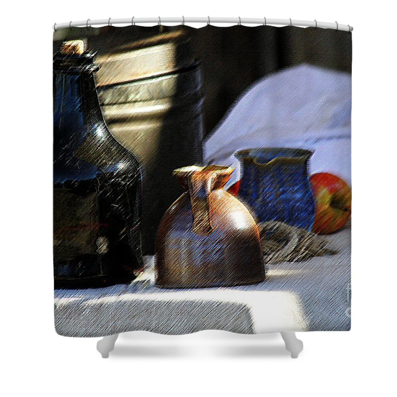Antique Shower Curtain featuring the photograph Antique Jugs by Catherine Sherman