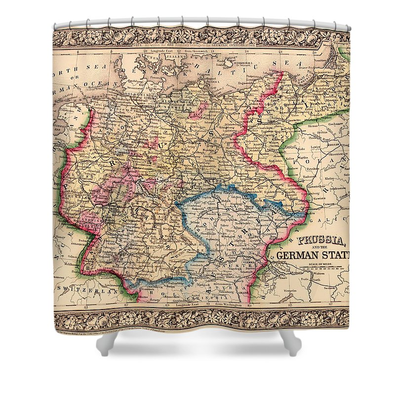 Antique Map Of Prussia And The German States 1860 Shower Curtain for ...
