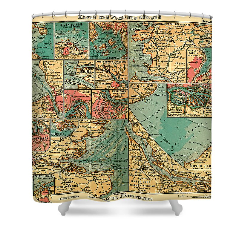 Map Shower Curtain featuring the drawing Antique Map Of The Baltic And North Sea Ports by Mountain Dreams