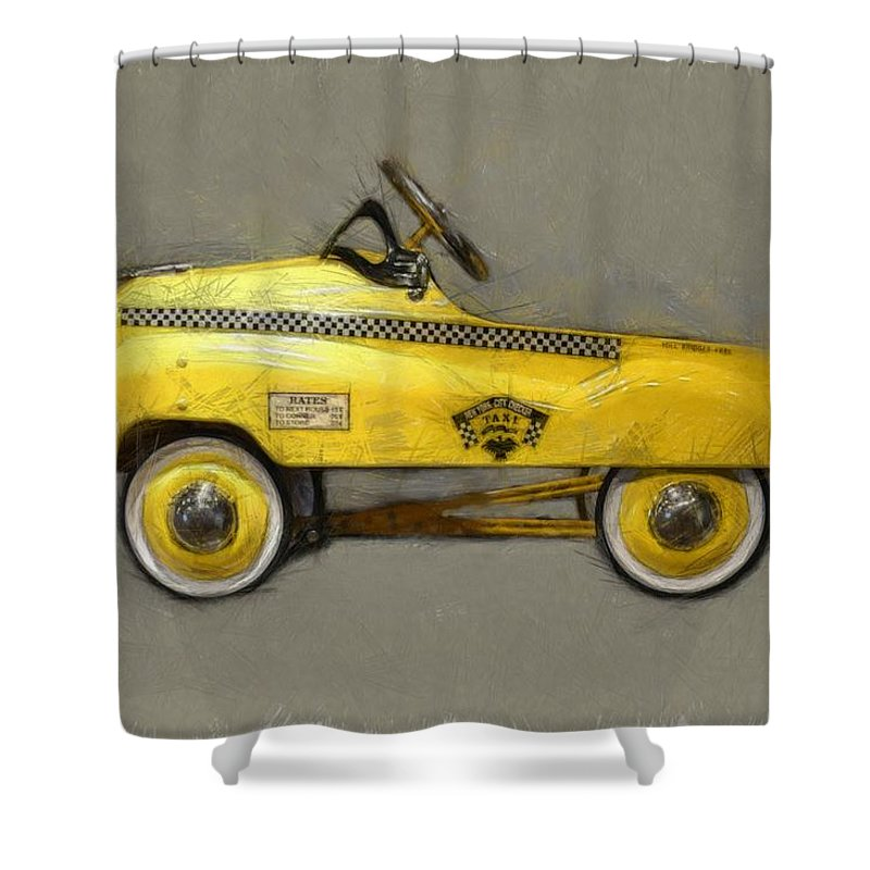 Yellow Cab Shower Curtain featuring the photograph Antique Pedal Car Lll by Michelle Calkins