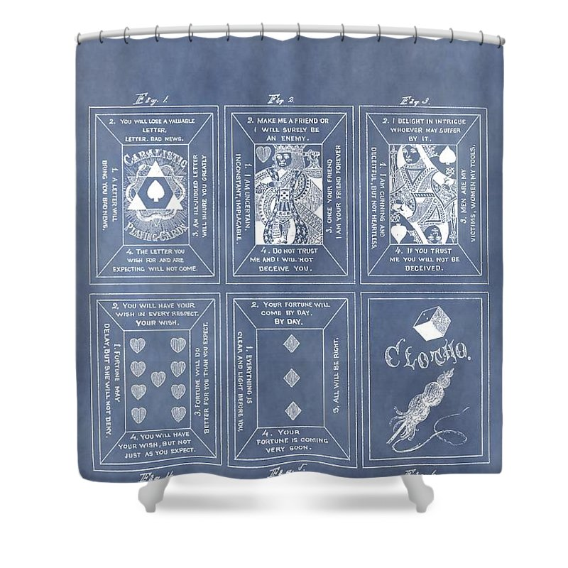Playing Cards Patent Shower Curtain featuring the drawing Antique Playing Cards by Dan Sproul