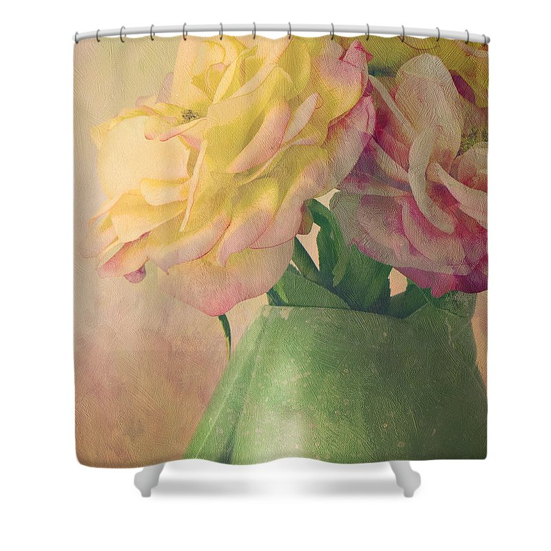 Floral Shower Curtain featuring the photograph Antique Roses by Theresa Tahara