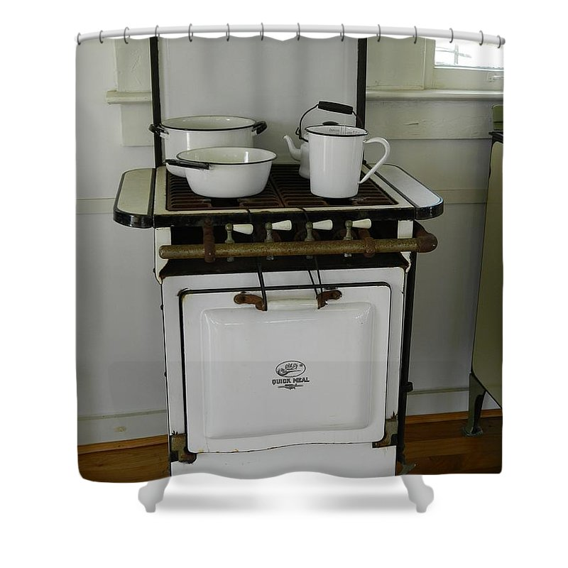 Enamel Shower Curtain featuring the photograph Antique Stove Number 3 by George Pedro