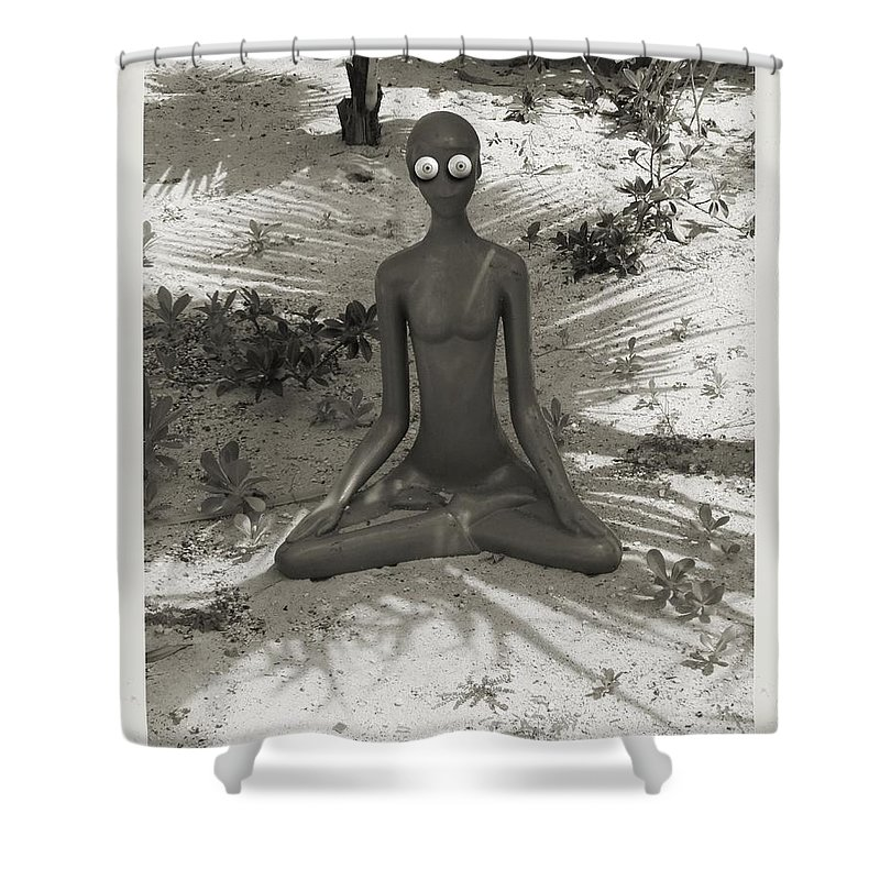Shower Curtain featuring the digital art Anxious by John Holfinger
