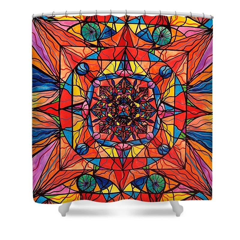 Aplomb Shower Curtain featuring the painting Aplomb by Teal Eye Print Store