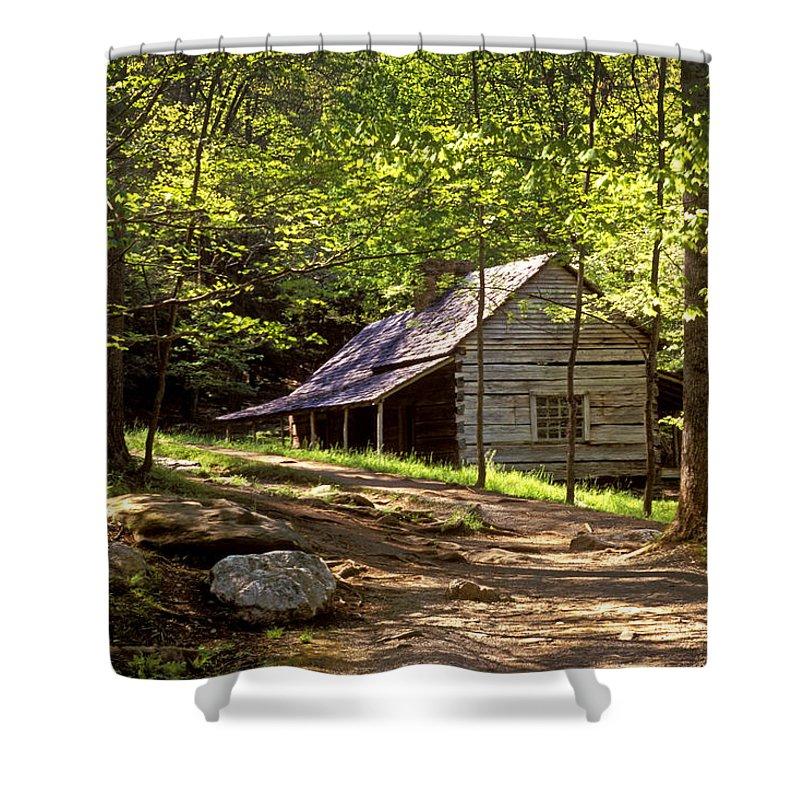 Cabin Shower Curtain Featuring The Photograph Appalachian Mountain Log By Paul W Faust