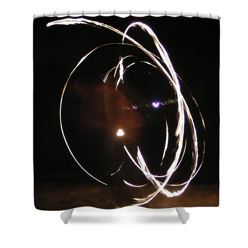 Fire Shower Curtain featuring the mixed media Apperate by Lovejoy Creations
