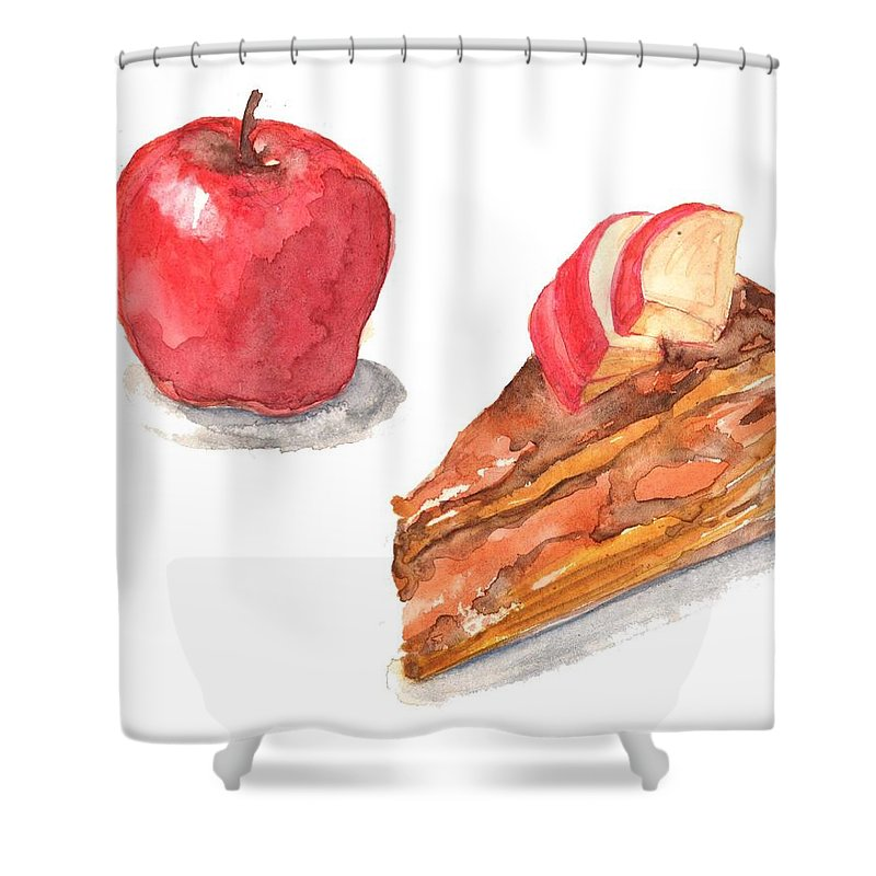 Watercolor Painting Shower Curtain featuring the digital art Apple Cake by Kana hata