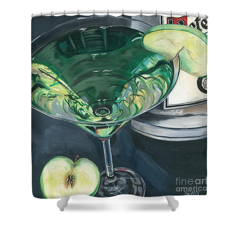 Apple Shower Curtain featuring the painting Apple Martini by Debbie DeWitt