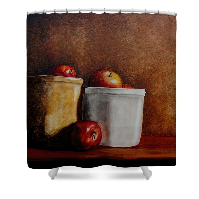 Apples Shower Curtain featuring the painting Apples And Jars by Van Bunch