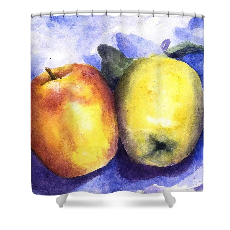 Apples Shower Curtain featuring the painting Apples Paired by Maria Hunt