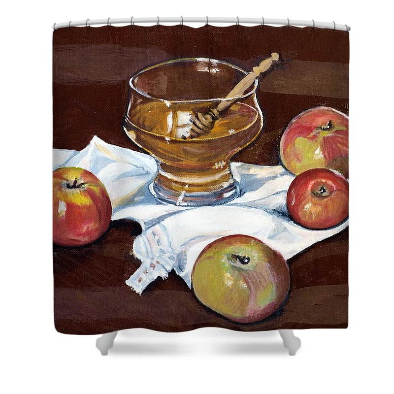 Apples Shower Curtain featuring the painting Apples With Honey by Vera Lysenko