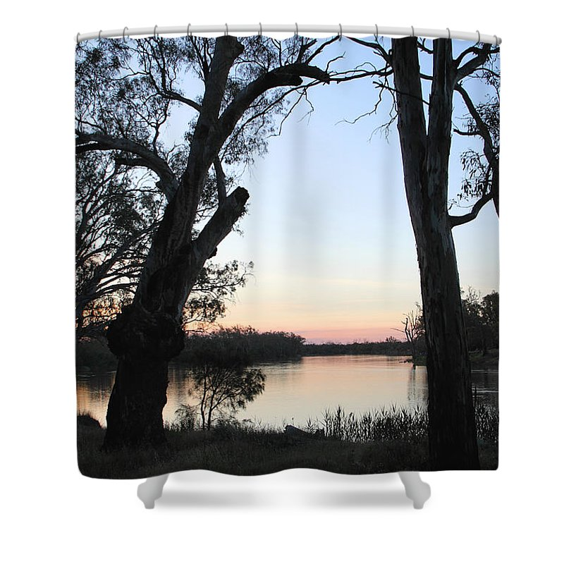 River Murray Sunset Shower Curtain featuring the photograph Approaching Sunset Silhouettes by Carole-Anne Fooks