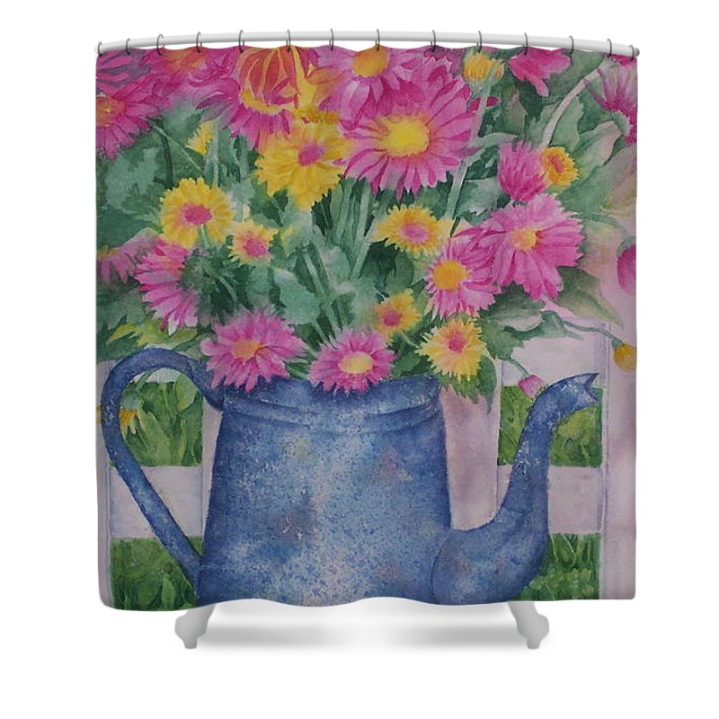Flower Shower Curtain featuring the painting April Showers Bring by Rhonda Leonard