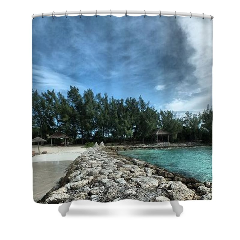 Rocks Shower Curtain featuring the digital art Aprilgate by John Holfinger