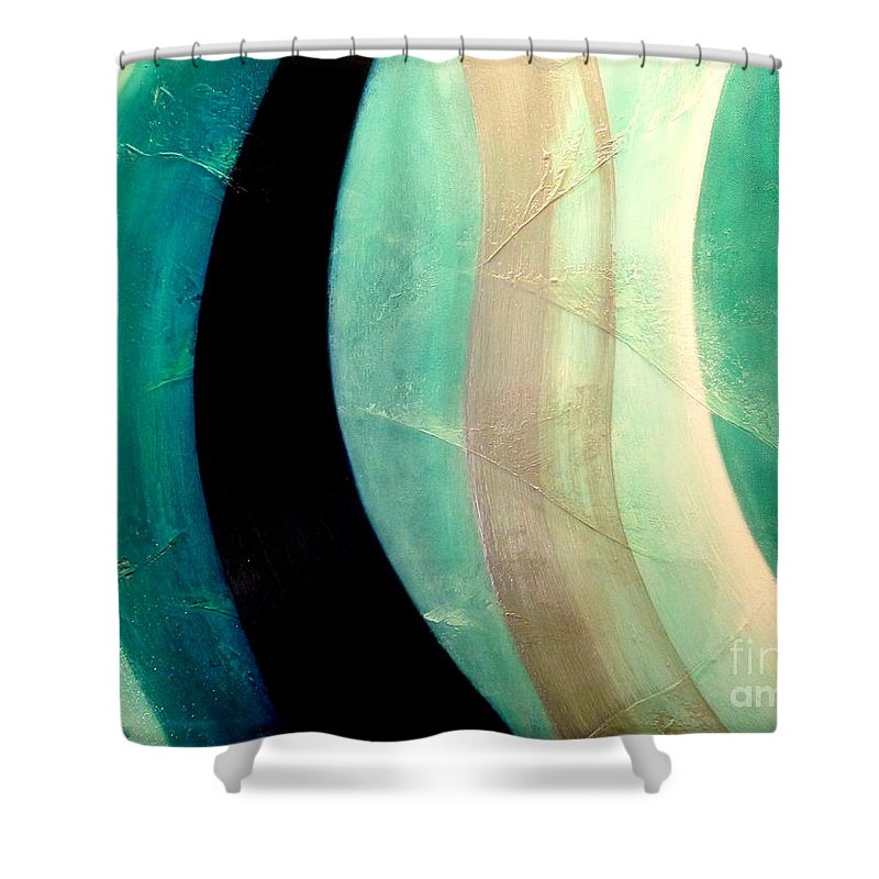 Aqua.ocean.light.energy White Shower Curtain featuring the painting Blue Moon by Kumiko Mayer