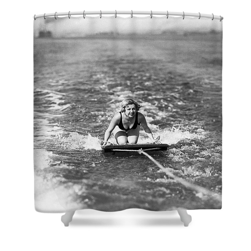 1 Person Shower Curtain featuring the photograph Aquaplane In Coronado by Underwood Archives
