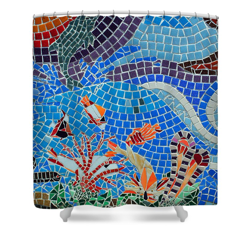 Aquatic Shower Curtain Featuring The Photograph Mosaic Tile Art By Tikvahs Hope