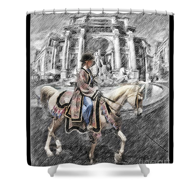 Arabian Horse Shower Curtain featuring the photograph Arabian Horse Black And White by Blake Richards