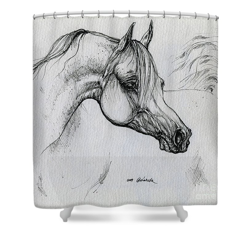 Horse Shower Curtain featuring the drawing Arabian Horse Drawing 28 by Angel Ciesniarska