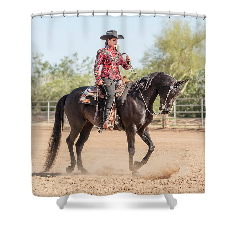 Horse Shower Curtain featuring the photograph Arabian Horse With Rider Dressed For by Lokibaho