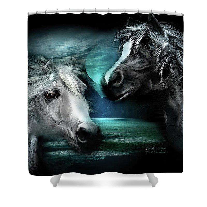 Horse Shower Curtain featuring the mixed media Arabian Moon by Carol Cavalaris