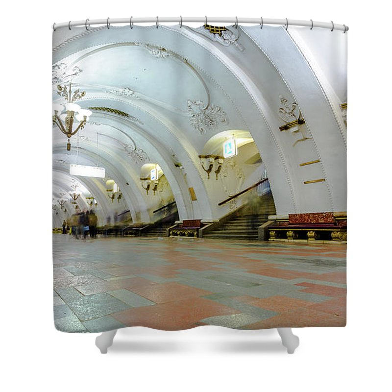 Arch Shower Curtain featuring the photograph Arbatskaya Metro by Mordolff