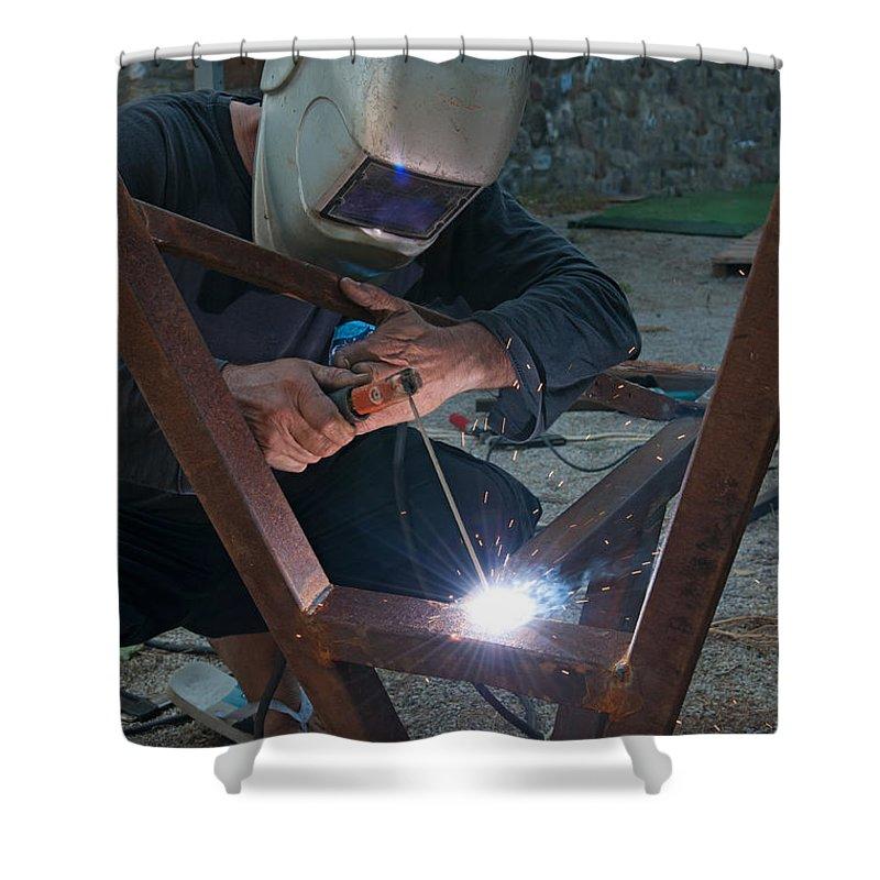 Arc Shower Curtain featuring the photograph Arc Welder by Roy Pedersen