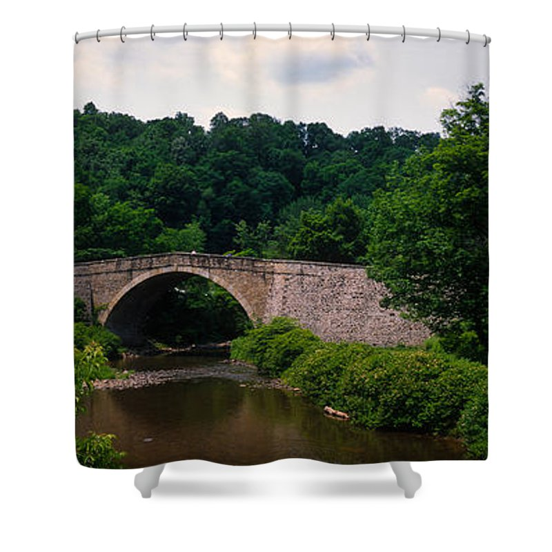 Photography Shower Curtain featuring the photograph Arch Bridge Across Casselman River by Panoramic Images