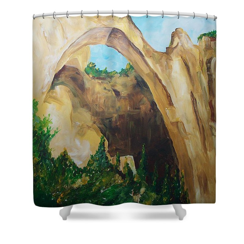 Floral Shower Curtain featuring the painting Arch by Eric Schiabor