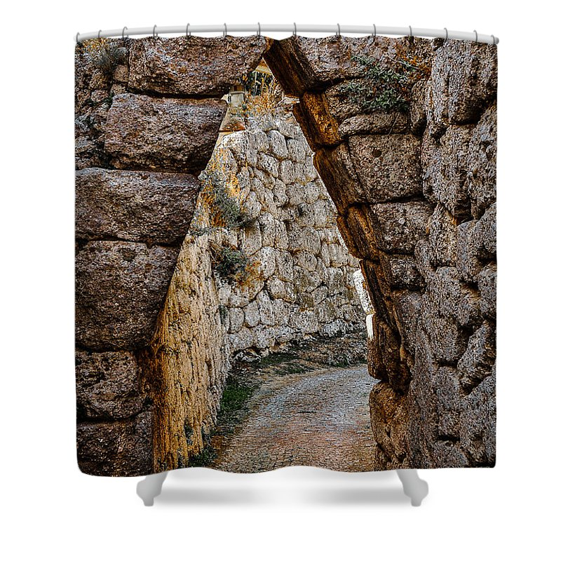 Medieval Shower Curtain featuring the photograph Arched Medieval Gate by Dany Lison