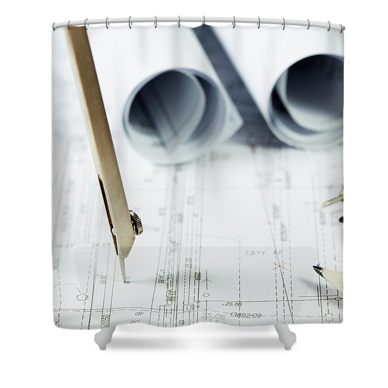 Civil Engineering Shower Curtain featuring the photograph Architecture Planning by Kalasek