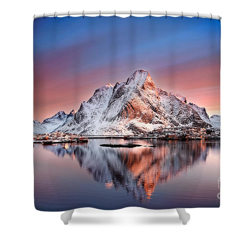 2012 Shower Curtain featuring the photograph Arctic Dawn Over Reine Village by Janet Burdon
