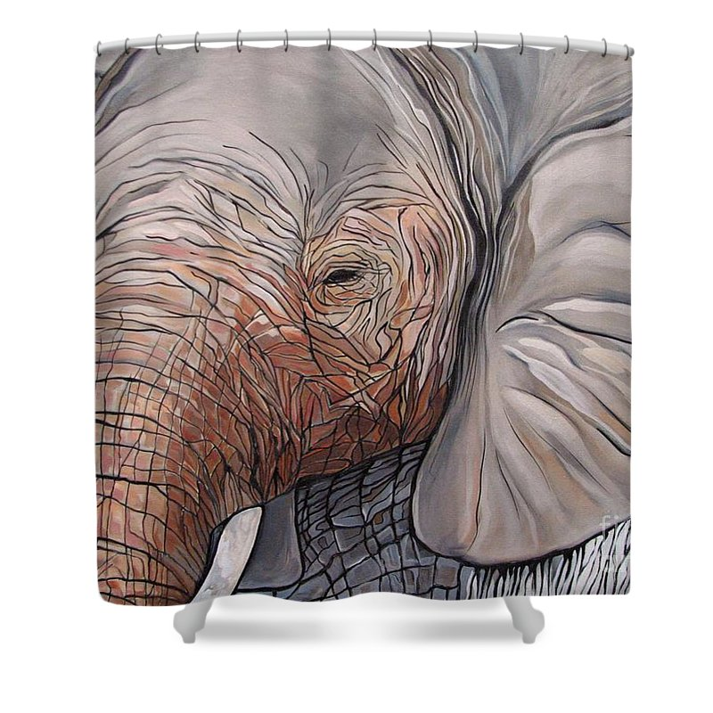 Elephant Bull Painting Shower Curtain featuring the painting Are You There by Aimee Vance
