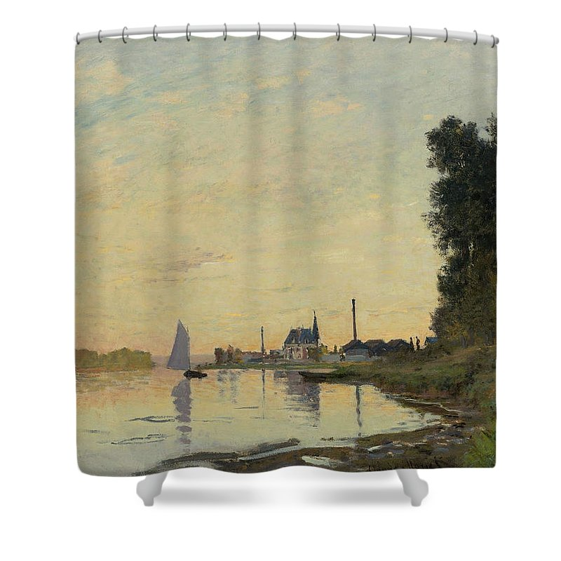 Claude Monet Shower Curtain featuring the painting Argenteuil Late Afternoon by Claude Monet