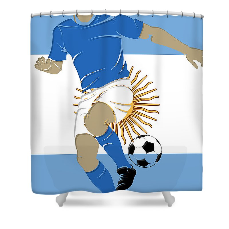 Argentina Shower Curtain featuring the photograph Argentina Soccer Player2 by Joe Hamilton