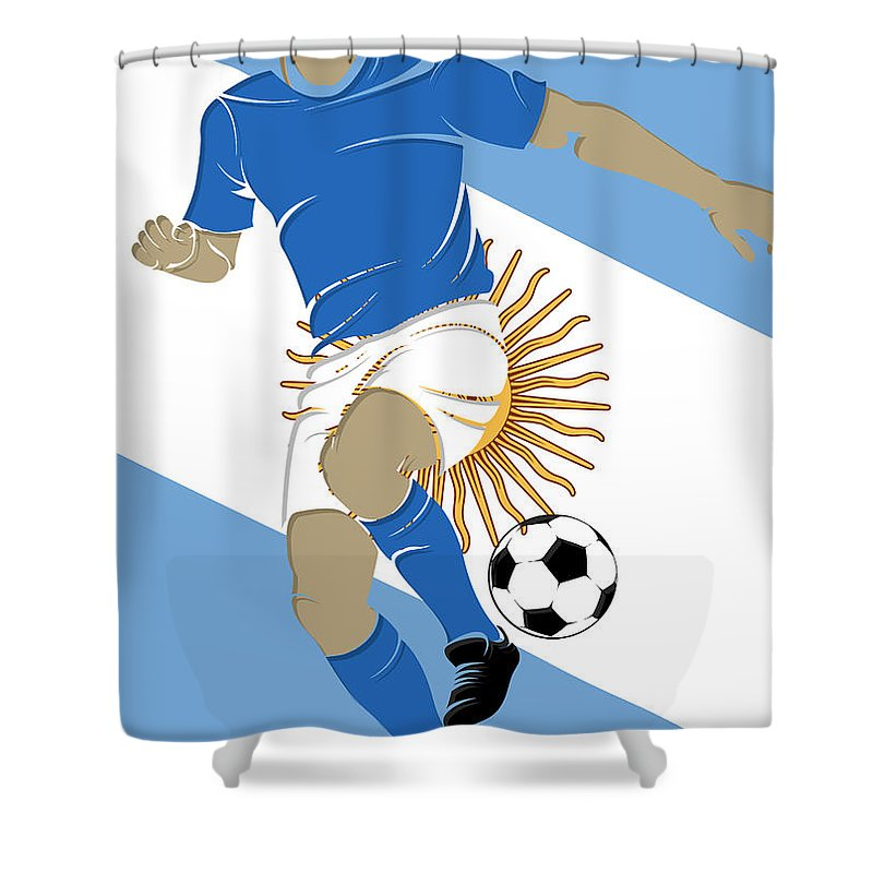 Argentina Shower Curtain featuring the photograph Argentina Soccer Player3 by Joe Hamilton