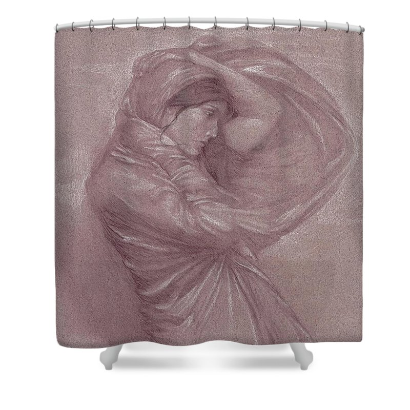 Wind Shower Curtain featuring the drawing Ariayl by Angela Lowry
