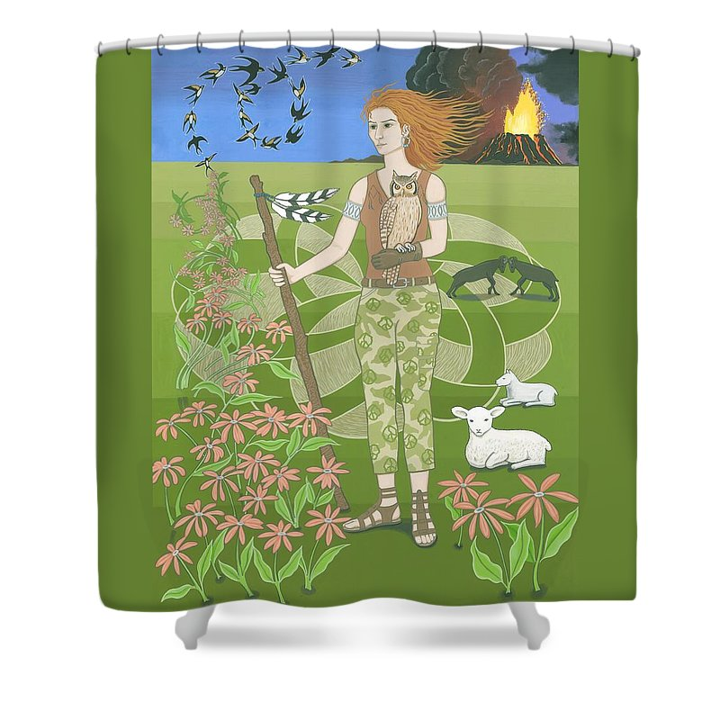 Aries Shower Curtain featuring the painting Aries by Karen MacKenzie