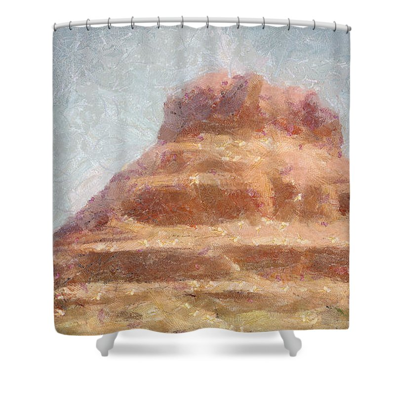 United States Of America Shower Curtain featuring the painting Arizona Mesa by Jeffrey Kolker