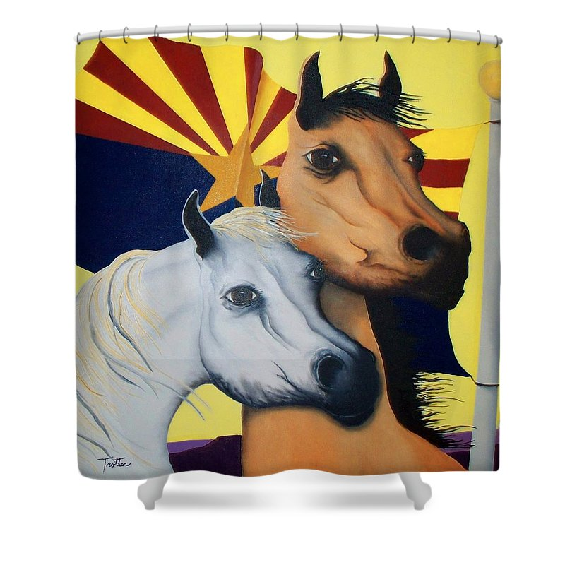 Horses Shower Curtain featuring the painting Arizona Spirit by Patrick Trotter