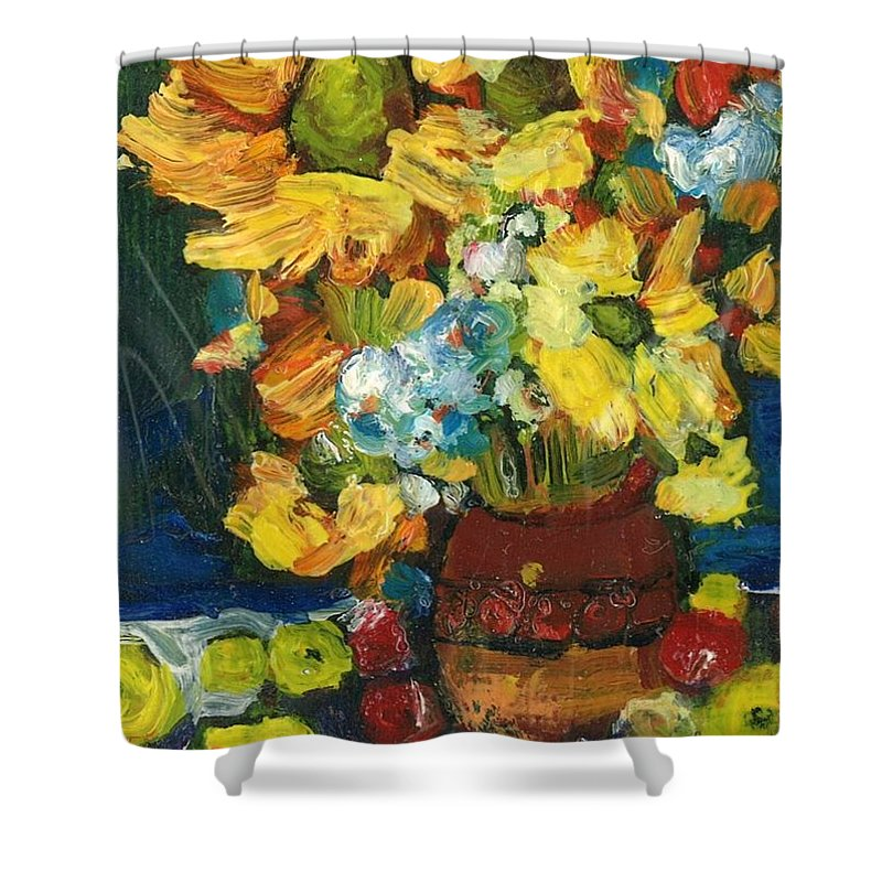 Owl Shower Curtain featuring the painting Arizona Sunflowers by Sherry Harradence