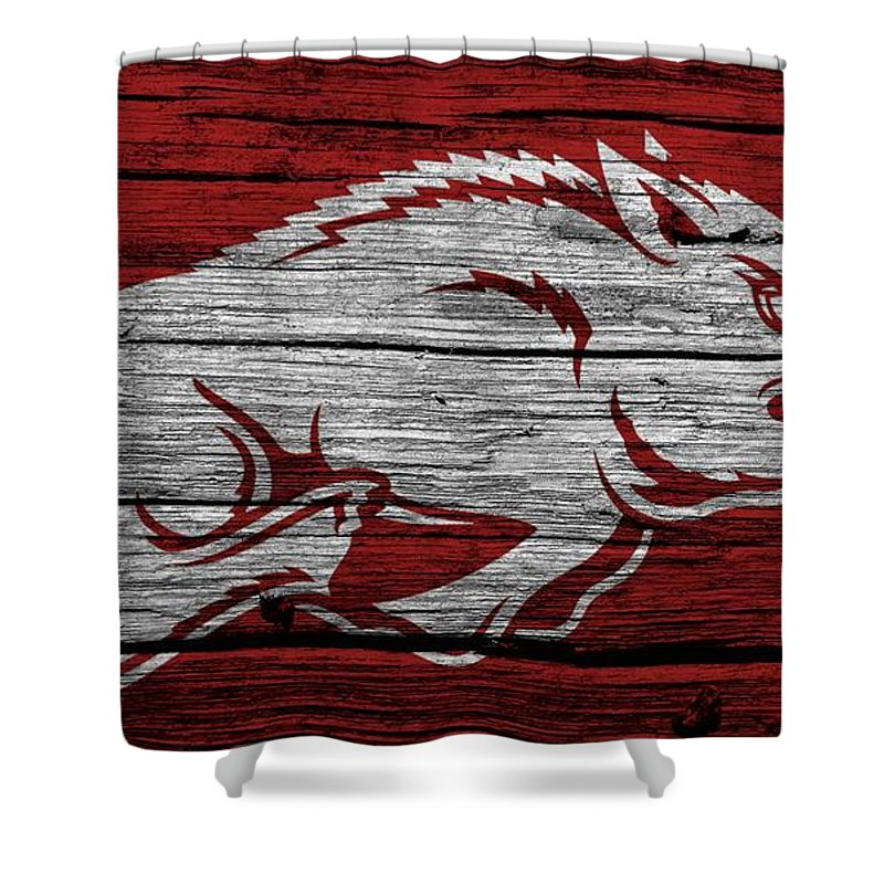 Arkansas Razorbacks Barn Door Shower Curtain Featuring The Digital Art  Arkansas Razorbacks On Wood By Dan