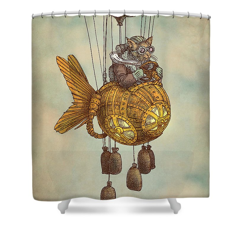 Cat Shower Curtain Featuring The Drawing Around World In Goldfish Flyer By Eric Fan