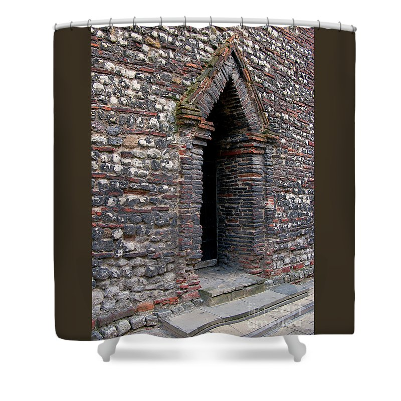 England Shower Curtain featuring the photograph Arrowhead Doorway by Ann Horn