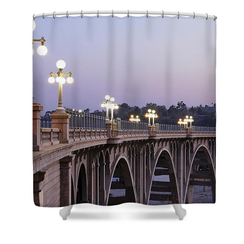 Arch Shower Curtain featuring the photograph Arroyo Seco Bridge Pasadena by S. Greg Panosian