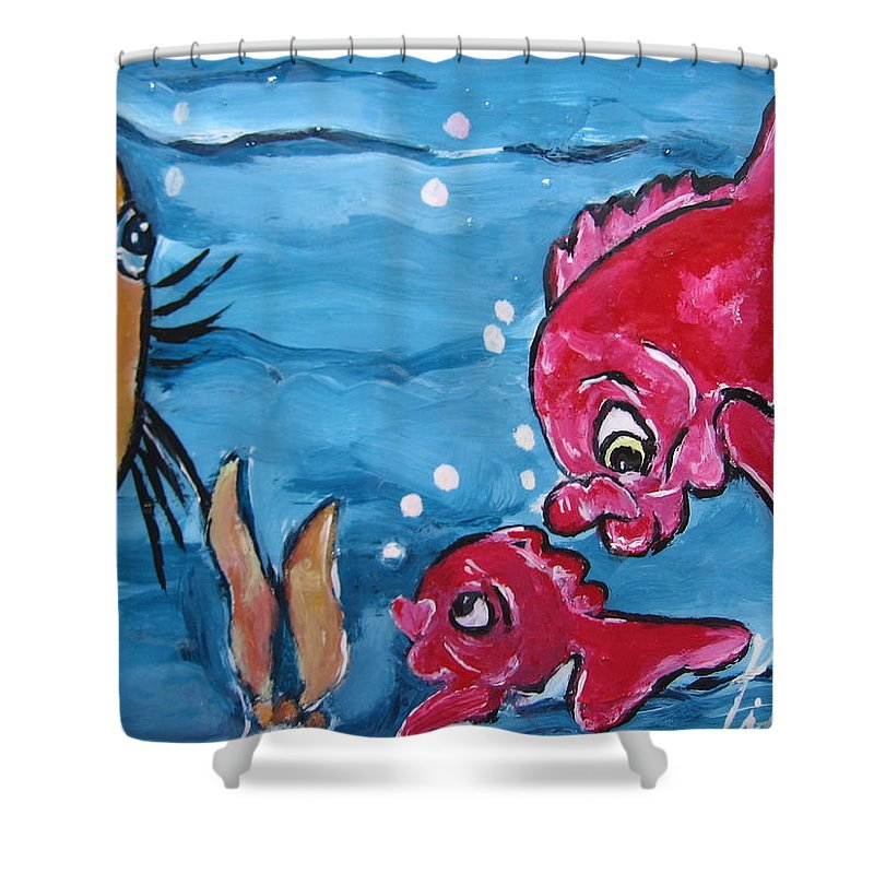 Pikotine Shower Curtain featuring the painting Fish Art by Pikotine Art