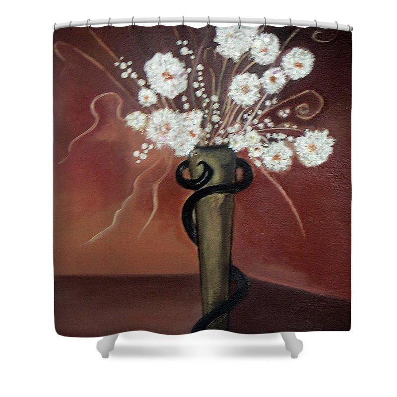 Pikotine Shower Curtain featuring the painting Flowers Art by Pikotine Art
